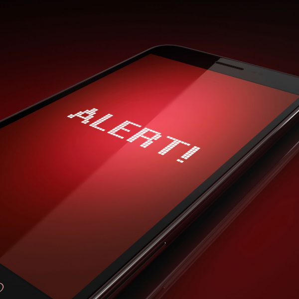 Smart phone displaying an emergency notification