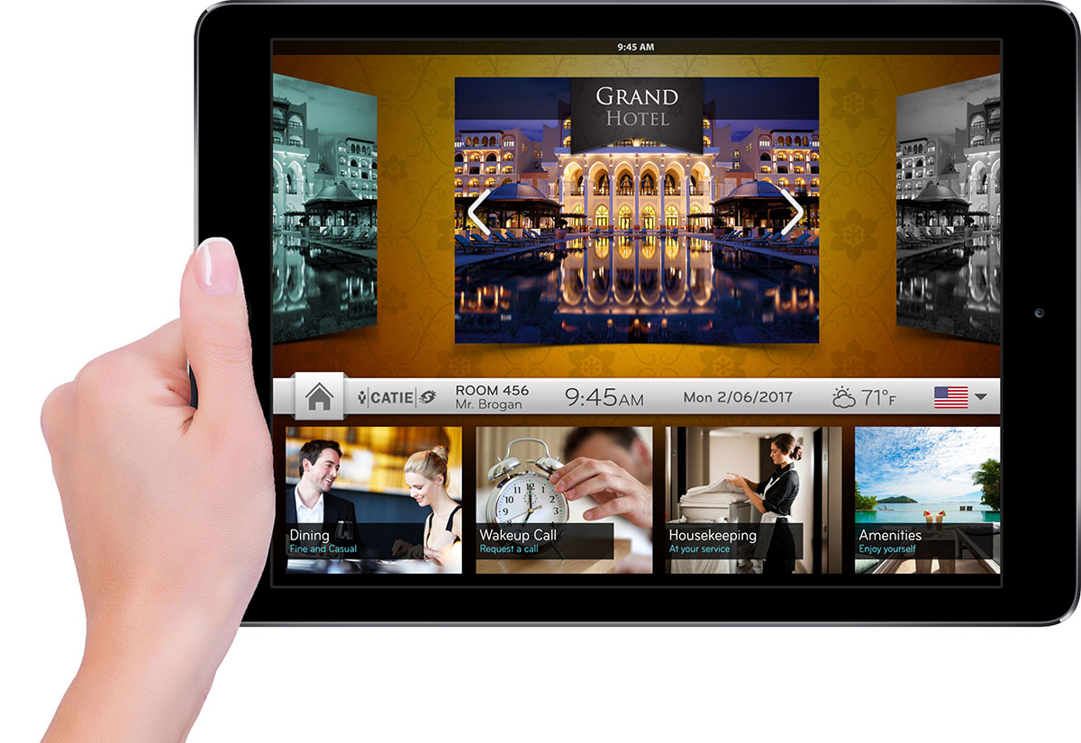 Hand holding communication tool to increase guest satisfaction