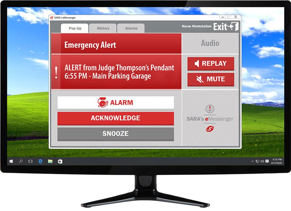 Government safety alert on desktop