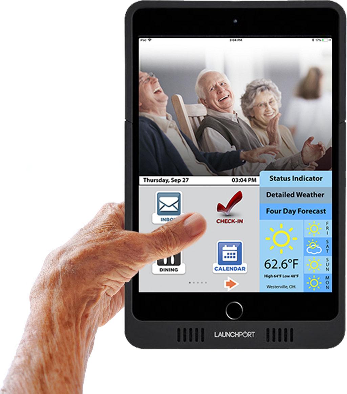 Senior Holding the CATIE iPad
